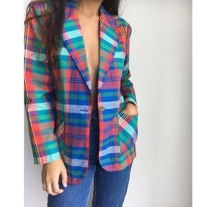 VINTAGE 80's tartan plaid oversized blazer S